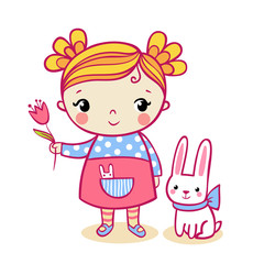 Little girl holding a flower. Vector illustration of a child and a hare on a white background.