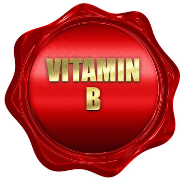 vitamin b, 3D rendering, red wax stamp with text