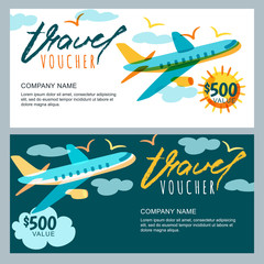 Vector gift travel voucher template. Multicolor flying airplane in the sky. Concept for summer vacation, travel agency and sale ticket. Banner, coupon, certificate, flyer, ticket layout.