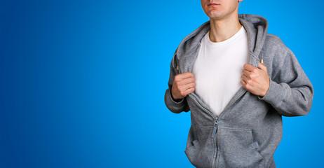 Superhero opening pullover, blank white t-shirt empty