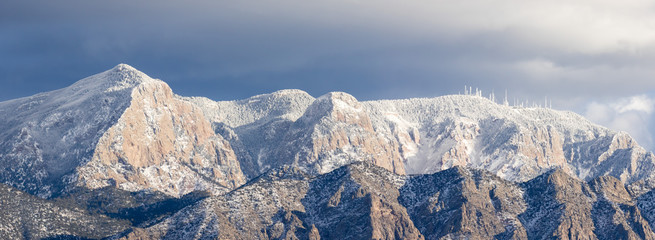 Sandia Mountains east of Rio Rancho New Mexico in winter