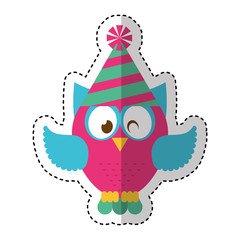 owl with party hat vector illustration design