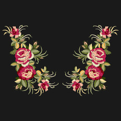 Red roses embroidery on black background with leaves and buds. Ethnic flowers neck line, flower design, graphics fashion wearing. Embroidery for t-shirt.
