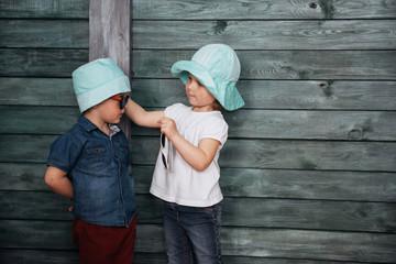 Happy young children siblings Ukraine. Europe