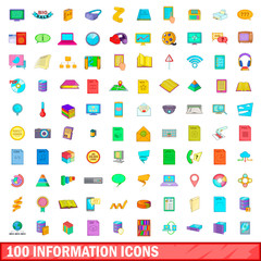 100 information icons set, cartoon style