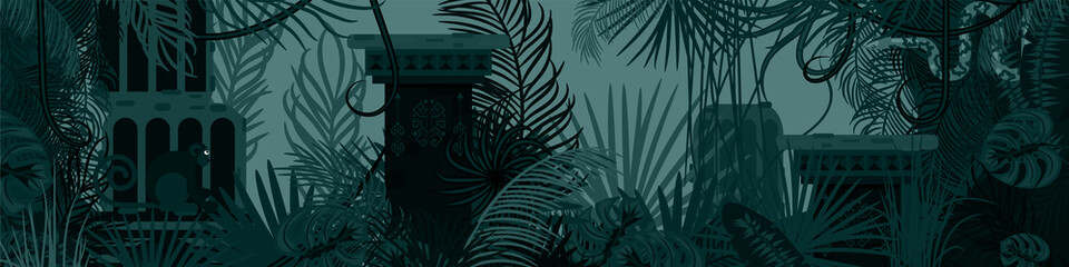 Horizontal old tropic forest nature background. Dark green and blue palm leaves, tree branches and tribal stone buildings vector.