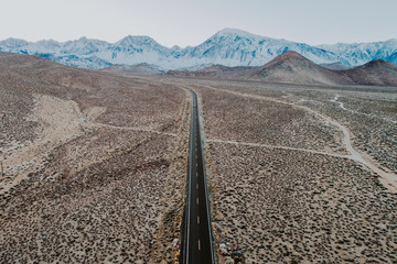 Drone view of a mountain road