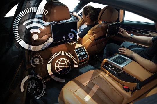 Smart car and internet of things (IOT) concept. Technology icons and Hightech vehical background