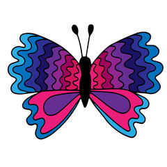 Colorful isolated butterfly with abstract pattern on the wing for tattoo, coloring book
