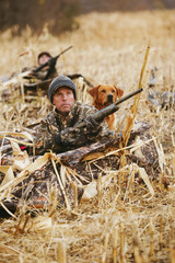 Goose Hunters In Corn Stubble