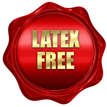 latex free, 3D rendering, red wax stamp with text