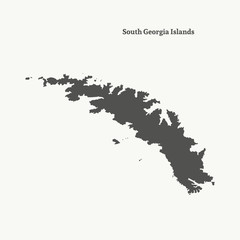 Outline map of South Georgia Islands. vector illustration.