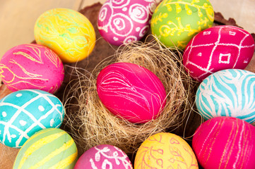 Closeup of beautiful Easter eggs. Easter.