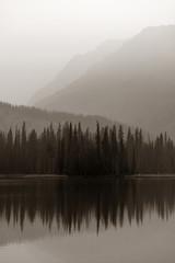 Tuinposter Wit Foggy mountain lake