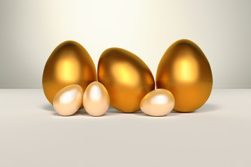 Illustration of a set of golden shiny Easter eggs on white background. Digitally generated image.