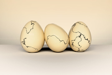 Illustration of a set of Easter eggs with cracks on the surface of the shells. Digitally generated image.