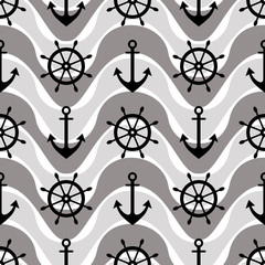 Vector seamless pattern with anchor, steering wheel. Symmetrical background, nautical theme. Graphic illustration. Template for wrapping, backgrounds, fabric, prints, decor, surface