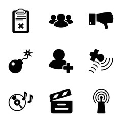 Set of 9 Media filled icons