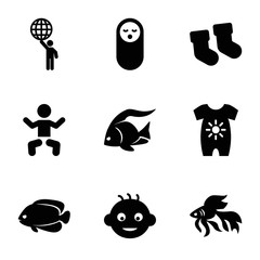 Set of 9 little filled icons