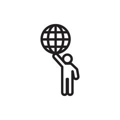 man holding globe icon icon.