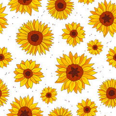 Seamless vector pattern of sunflowers