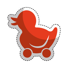 ducky wheels isolated icon vector illustration design