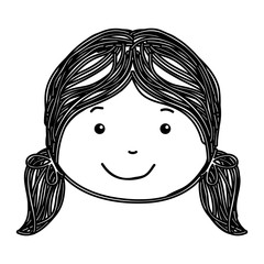 little girl drawing isolated icon vector illustration design