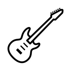 Electric guitar musical instrument line art vector icon for music apps and websites