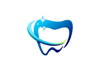 dental logo, health care dentist symbol, people dentistry icon, healthy tooth clean vector design template