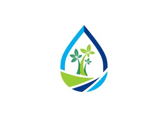 water drop logo, waterdrop spring logo symbol icon concept, water illustration landscape vector logo design template
