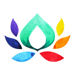 7 color of chakra symbol concept, flower floral, watercolor painting hand drawn icon logo, illustration design sign