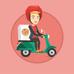Woman delivering pizza on scooter.
