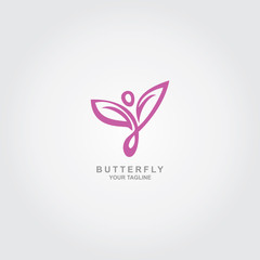 People Symbol Of Butterfly Logo