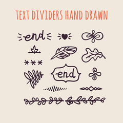 Set of hand drawn text dividers isolated on light background