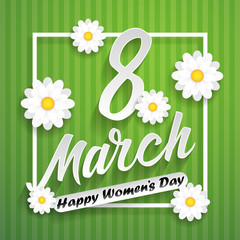 Women day lettering on green background with flowers. 8 march