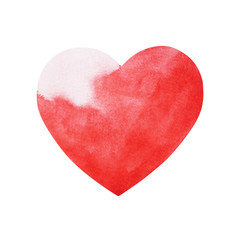 red love heart watercolor painting hand drawn design illustration
