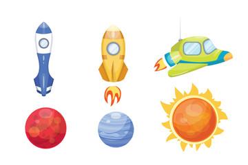 Astronomy space rocket cartoon set vector.