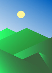 Abstract summer mountain landscape. Wallpaper for mobile device. Vector illustration.