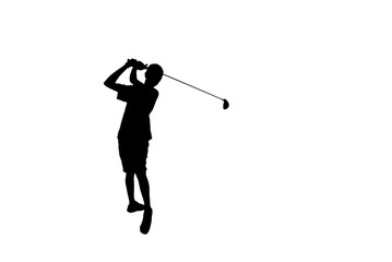 silhouette golfer in action hitting golf shot isolated  on white background