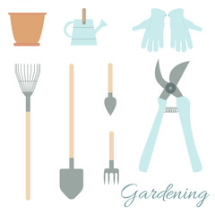Set of Gardening Tools and Instruments