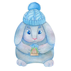 Watercolor brooding bunny in a knitted blue hat with large blue eyes and a pink nose holding a glass ball with snow and the house inside. Hand drawn cartoon illustration for kids