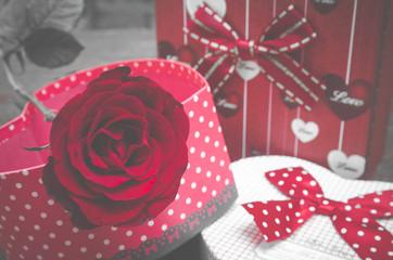 rose flower background for Valentine's Day, vintage filter image