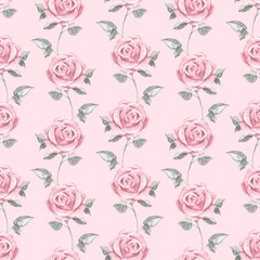 Pink roses. Watercolor floral seamless pattern