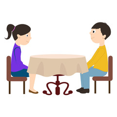 Man and woman sitting at the table. Vector illustration in flat style