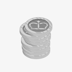 3D icon for a stack of silver coins with crown on top. Vector illustration. Winner award. Best choice badge.