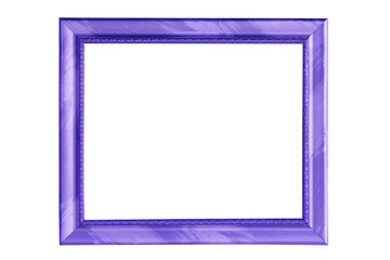 Beautiful blue picture frame isolated on white background.