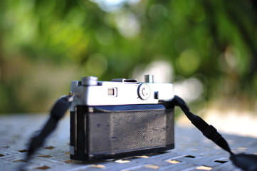 the old retro vintage of rangefinder film camera style is the classic object item in past history of photography