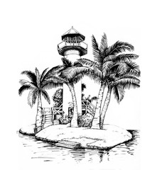 Lighthouse on an island, surrounded by palm trees.