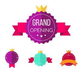 Grand opening banners/badges design over a white background. Flat style. Vector illustration