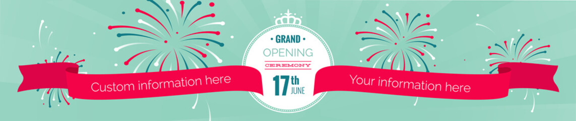 Grand opening long horizontal banner. Text with  fireworks and ribbons. Flat style. Vector flat  Illustration